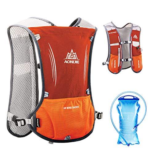 TRIWONDER Hydration Pack Rucksack 5L Marathoner Laufrennen Trinkweste (Orange - mit 1.5L Wasserblase)