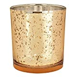 Just Artifacts Mercury Glass Votive Candle Holders 4in Speckled Gold (Set of 12) - Mercury Glass Votive Candle Holders for Weddings and Home Décor