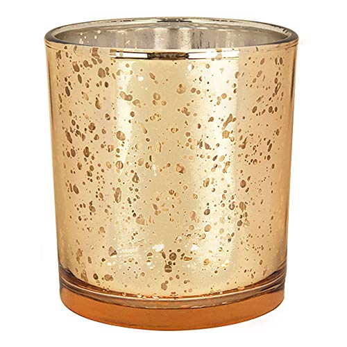 Just Artifacts Mercury Glass Votive Candle Holders 4-Inch Speckled Gold (Set of 12) - Mercury Glass Votive Candle Holders for Weddings and Home Décor