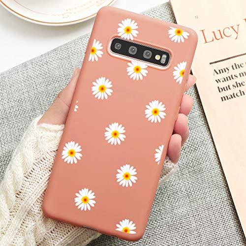 Pnakqil Funda Samsung Galaxy S10 Plus Silicona con Dibujos Suave Carcasa Color Ultra Fina y Ligero Antigolpes Gel TPU Piel Caso Goma Protectora Cover para Samsung S10 Plus, Flor 01 - Naranja
