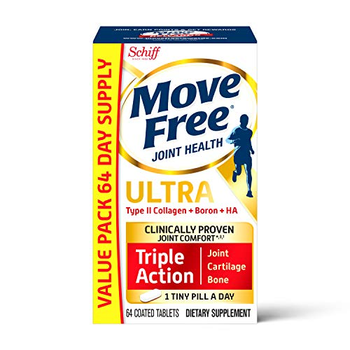 Type II Collagen, Boron & HA Ultra Triple Action Tablets, Move Free (64 Count in A Box), Joint Health Supplement with Just 1 Tiny Pill Per Day to Promote Joint, Cartilage and Bone Health