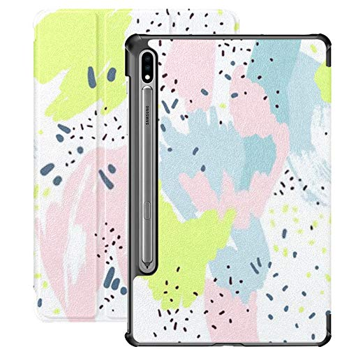 Galaxy Tablet S7 Plus 12.4 Inch Case 2020 With S Pen Holder, Brush Marker Pencil Stroke Pattern Abstract Slim Stand Protective Folio Case For Samsung