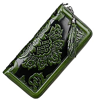 PIJUSHI Leather Wallets For Women Floral Wristlet Wallet Card Holder Purse  91853 Green
