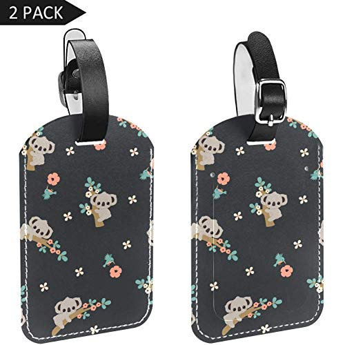 Luggage Tags Cute Koala Climing Floral Tree Leather Travel Suitcase Labels 2 Packs