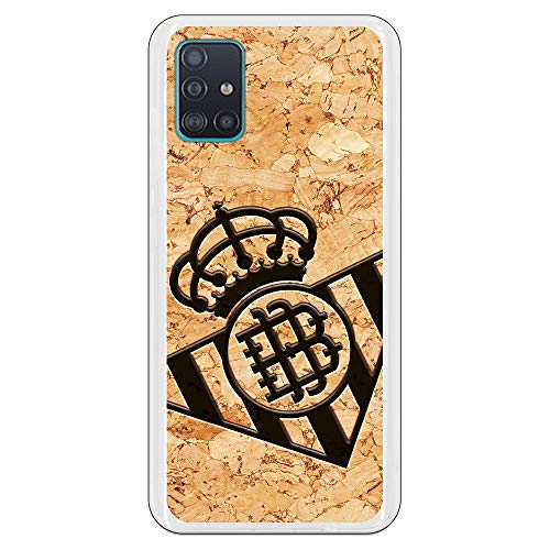 Funda para Samsung Galaxy A51 Oficial del Real Betis Balompié Betis Escudo Fondo Corcho para Proteger tu móvil. Carcasa para Samsung de Silicona con Licencia Oficial del Real Betis Balompié.