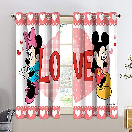 Cortinas opacas con ojales de Mickey Minnie Mouse con ojales en la parte superior de 42 x 72 cm