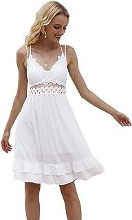 Zattcas Womens Summer Sleeveless V-Neck Spaghetti Strap Ruffle Mini Lace Dress