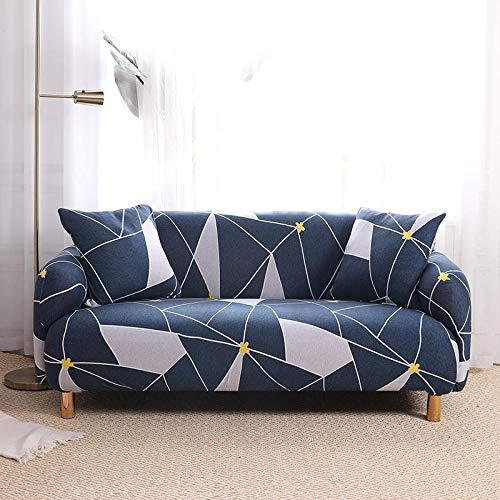Funda para Sofá Elástica 1 2 3 4 Plazas La Geometría Azul Impresión Antideslizante en Tejido Elástico Suave Extensible Protector para Sofa Cama (4 Plaza: 235-300 cm)