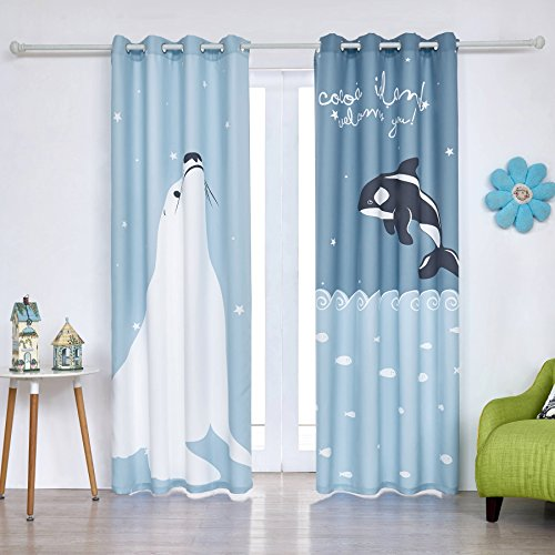 Fassbel 2 Panel Set Digital Printed Blackout Curtains for Bedroom Living Dining Kids Youth Room Window Drapes (W54× L84, Sea Lion and Dolphin)