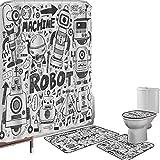 Juego de cortinas baño Accesorios baño alfombras Robot Alfombrilla baño Alfombra contorno Cubierta del inodoro Espacio futurista Doodle Style Androids Sci Fi Pattern Fantasy Machine Art Print,gris gri