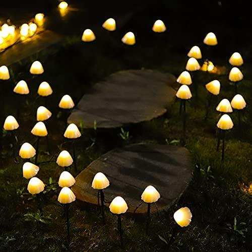Mushroom Solar Fairy Lights Outdoor Waterproof,Glowing Mushroom Ground Plug Solar String Lights for Garden Decoration,Fairy Lights for Tree,Fence, Patio, Garden, Yard, Home, Party, Wedding (3.5m10led)