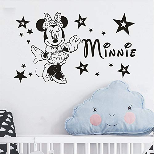 Wandtattoo Wohnzimmer Mickey Mouse Wall Sticker Aufkleber benutzerdefinierten Namen Mädchen Minnie Mouse Wall Decal Kindergarten Kinder Name Schlafzimmer Cartoon Wall Decor Aufkleber Kunst
