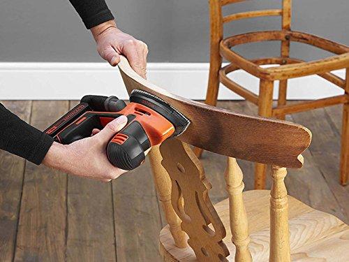 BLACK+DECKER BDCDS18-QW Ponceuse de détail Mouse sans fil et 1 doigt de ponçage - Livrée en boite de rangement, 18V, Orange, 6 abrasifs