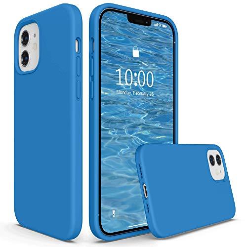 SURPHY Cover Compatibile con iPhone 12 e iPhone 12 PRO Case(6,1'), Custodia in Silicone per iPhone 12/12 PRO Cover Antiurto con Fodera in Microfibra Full Body Case per iPhone 12/12 PRO, Surf Blue