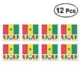 LUOEM Flagge Fahne Senegal Länder Temporäre Tattoos Aufkleber Fanartikel Fussball WM 2018 12 Stücke