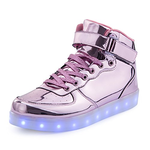 FLARUT Kids LED Light up Shoes 7 Colors Flashing Trainers High-Top Charging Sneakers with for Boys and Girls (Pink, 35)