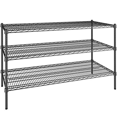 24 inch x 54 inch Certified Black Epoxy 3 Shelf Kit with 34 inch Posts. Storage Shelf. Garage Storage Shelves. Shelving Units and Storage. Food Storage Shelf. Storage Rack. Bakers Racks