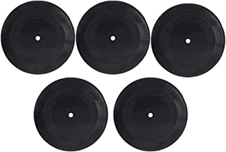 BESPORTBLE 5pcs Rock and Roll Music Party Decorations Wall Mounted Music Records Home Bedroom Decoration Ornament Black