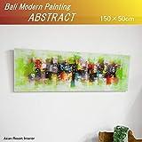 MANJA PIC-0086-3 バリ絵画 抽象画 アブストラック モダンアート (50×150cm) バリ島 インドネシア エスニック モダン リビング オフィス モード 店舗