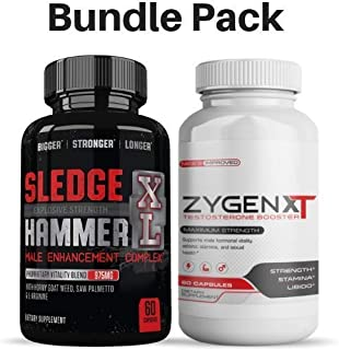 Sledge Hammer XL & ZyGenXT Male Enhancement Combo/Bundle Pack - Testosterone Booster & Male Enhancing Pills