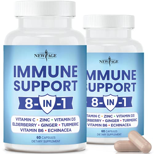 8 in 1 Immune Support Booster Supplement with Elderberry, Vitamin C and Zinc 50mg, Vitamin D 5000 IU, Turmeric Curcumin & Ginger, B6, Echinacea - 120 Count - 2 Pack