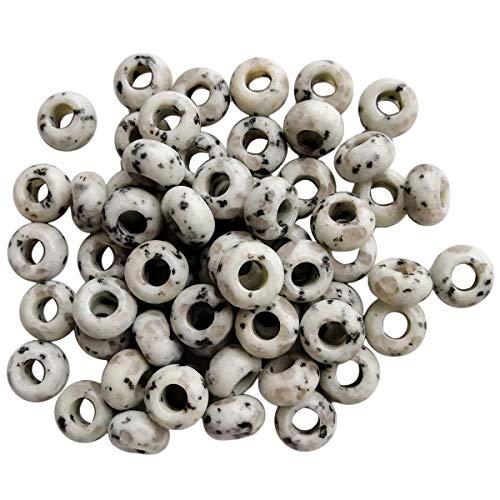 Lovionus89 20 unidades de cuentas redondas con agujero grande para pulseras de abalorios, cristales, joyas, manualidades, jaspeado Sesam