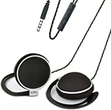 Clip Type Earphones,Portable Stereophone Headphones,with Microphone and Call Controller Stereo Earphones,Suitable for Compatible with 3.5mm iPhone, Android Mobile Phone Black