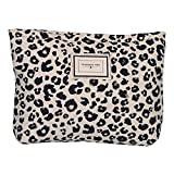 LYDZTION Leopard Print Makeup Bag Cosmetic Bag for Women,Large Capacity Canvas Makeup Bags Travel Toiletry Bag Accessories Organizer,White