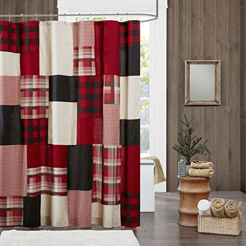 Woolrich Sunset 100% Cotton Shower Curtain, Cabin Lodge Plaid Pieced Design with Built-in Liner, Farmhouse Bathroom Decor, Machine Washable, Fabric Privacy Screen 72x72, Red