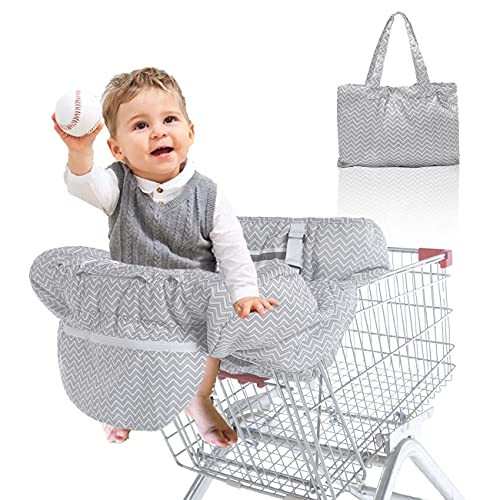 3 in 1 Shopping Cart Cover for Baby Boy/Girl, Baby High Chair Cover with Upgraded Safety Harness, Grocery Cart Cover for Infant/Toddler, Machine Washable Cart Cover by MAYKI