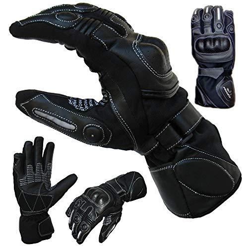 PROANTI Sommer Regen Motorradhandschuhe mit Visierwischer Motorrad Handschuhe (L)