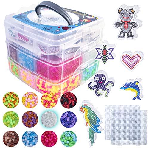 La Manuli 10000 Bügelperlen von Hama Beads kompatibel | Glitzer | volle Farbe | im Dunkeln Leuchten Perlen | 5mm | 23 Farben | VOLLSTÄNDIGER Satz