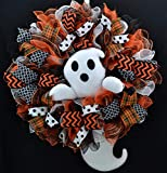 Ghost Wreath   Ghost Head and Tail Halloween Mesh Front Door Outside Wreath; Orange Black White