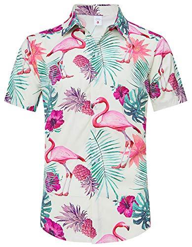 Men Pineapple Dress Shirts Summer Casual Short Sleeve Tops Fun Leaf Fruit Print Polo Shirt Big Man Plain Buttons Up Outfits Guys Hawaii Beach Quick Dry Aloha Blouse, Flamingo 2XL Off-White