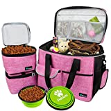 PetAmi Dog Travel Bag | Airline Approved Tote Organizer with Multi-Function Pockets, Food Container Bag and Collapsible Bowl | Perfect Weekend Pet Travel Set for Dog, Cat (Pink, Large)