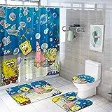 Spongebob Shower Curtain Sets with Non-Slip Bath Rug Mat Toilet Lid Cover Contour Mat Waterproof Bath Curtain with 12 Hooks for Bathroom Bathturb Dorm Hotel Decor