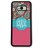 Samsung Galaxy S7, Simply Customized Phone Case Compatible with Samsung Galaxy S7 [5.1 inch] Paisley Red Lattice Quatrefoil Monogram Monogrammed Personalized S751