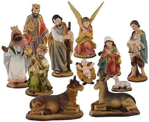 Aurora Store Set Mini Natività Classica Presepe Statuine in Resina con 11 soggetti Personaggi da h. 7 cm Giuseppe Maria Gesù Bambino Re Magi Asinello Bue