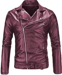 Men Slim Pu Leather Causal Belted Biker Zipper Jacket Overcoats Jackets Coat Outwear