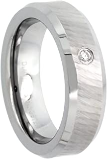 Sabrina Silver 6mm Tungsten Diamond Wedding Ring for Him & Her Dazzling Cut Finish Beveled Comfort fit, Sizes 4 to 9.5