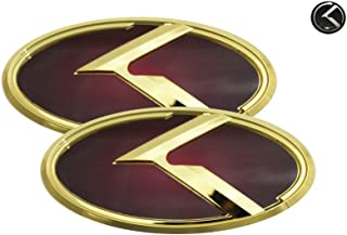 3D K Logo Emblem Red & Gold Edition Set 3pc Front + Rear + Mini Sticker (Fits: KIA 2018+ Stinger)