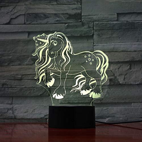 3D LED Nachtlampje Aanraaksensor 16 Kleur Veranderende Decoratie Lamp Cadeau Cartoon Speelgoed Tafellamp Nachtkastje Mooi Eenhoorn Meisje