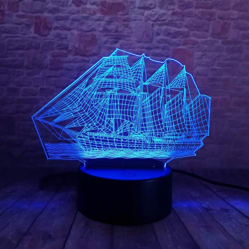 Wangzj 3D Led Illusion Light7 Colors Light/Table Lamp Atmosphere Decoration/Kids Birthday Gifts/ 3D Sailing Boat