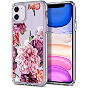 CYRILL Cecile Designed for iPhone 11 case, Floral Pattern Clear Hard PC Back with Shockproof Air Cushion TPU Bumper Case for iPhone 11 cover - Rose Floral
