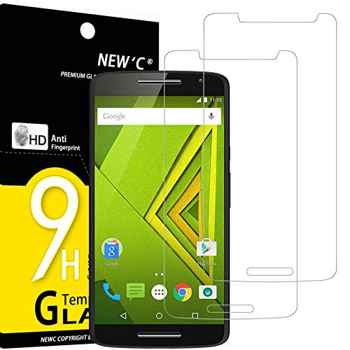 NEW'C 2 Stück, PanzerglasFolie Schutzfolie für Motorola Moto X Play, Frei von Kratzern Fingabdrücken & Öl, 9H Festigkeit, HD Bildschirmschutzfolie, 0.33mm Ultra-klar, Ultrawiderstandsfähig
