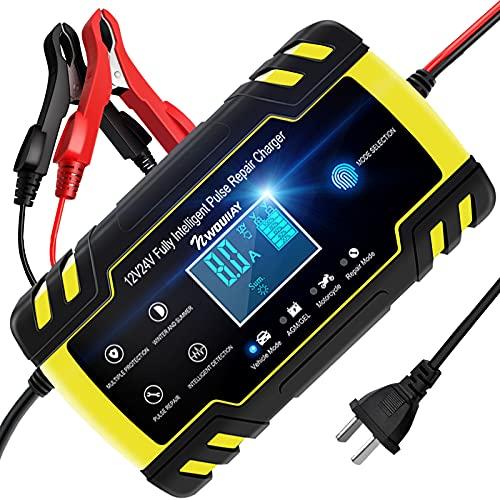 NWOUIIAY Chargeur de Batterie Intelligent Portable 8A 12V 24V LCD Écran avec Protections Multiples Type de réparation pour Batterie de Voiture Moto