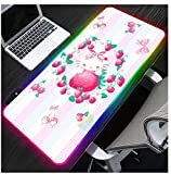 Gaming Mouse Pads Pink White Blue Stripe Cute LED Gaming Mouse Pad Cartoon Rabbits Extended Long Glowing RGB Laptop Keyboard Mats Smooth Surface 14 Lighting Modes 23.6X11.8Inch
