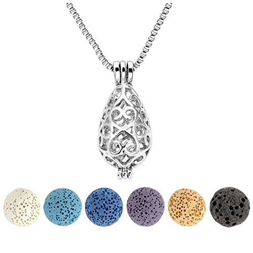 JSDDE Aromatherapy Lava Rock Stone Essential Oil Diffuser Necklace Hollow Locket Pendant Necklace