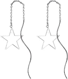 Star Drop Earrings Fresh Style Exquisite Threader Dangle Earrings Curve Twist Shape for Women's Gift Silver Plated
