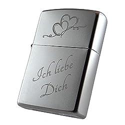 """Zippo Benzinfeuerzeug""""Ich liebe Dich"""" + Herz + kostenlose Gravur auf der Rückseite"""
